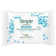 Water Boost Cleansing Wipes Hydrating 25 Wipes by Simple