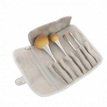 4 Makeup Brushes + Brush Roll Case Set by advanced beauty tools