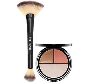 Blush, Bronzer & Illuminator with Dual Fan Brush by eve pearl