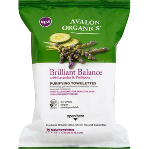 Organics Brilliant Balance Purifying Towelettes With Lavender & Prebiotics by avalon