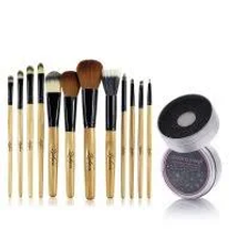 12 Makeup Brushes Kit Set with Leopard Cosmetic Bag by Zodaca