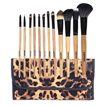Leopard Makeup Brush Set With Pouch by ivation