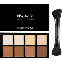 HD Highlighter & Contour Set With Double Ended Brush by Freedom Makeup