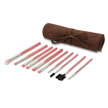 Pink Bambu Eyes Only 10pc. Brush Set with Roll-Up Pouch by bdellium tools