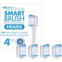 On The Go Sonic Blue Replacement Brush Heads by go smile