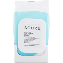 Acure Clarifying Acne Towelettes Glycolic Zinc 30 Towelettes by Thrive Market